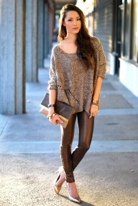 windsor brown sweater metallic denim cozy clutch gold vince camuto winter outfit
