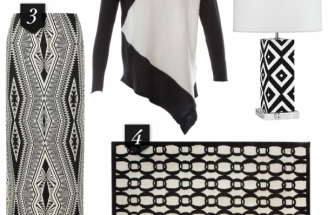black and white clothes and decor