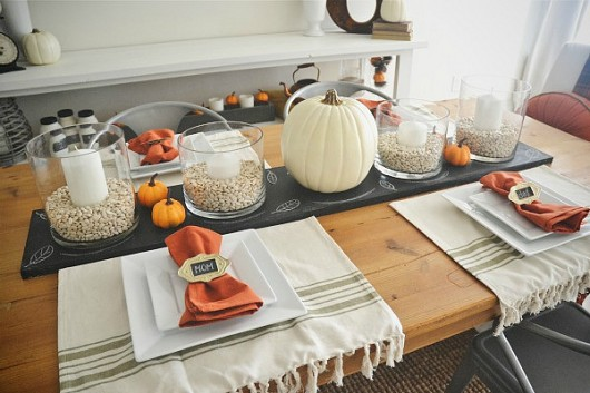 Fall Table Settings - Chalkboard Table Runner & Apartment Living Blog by Avalon Picturesque Fall Table Settings ...