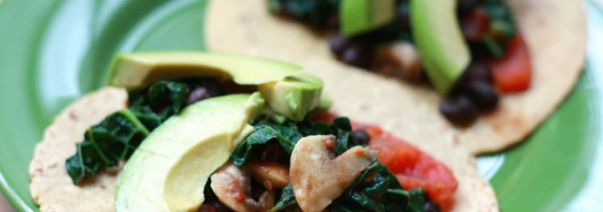 Vegetable and Black bean tacos