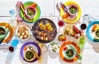 bright colored dishware and summer food